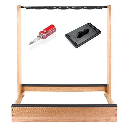 Saintfield Studios - Soporte de madera para guitarras eléctricas, acústicas o bajos - Soporte de almacenamiento para guitarra múltiple de roble macizo - Completo con limpiador de cuerdas