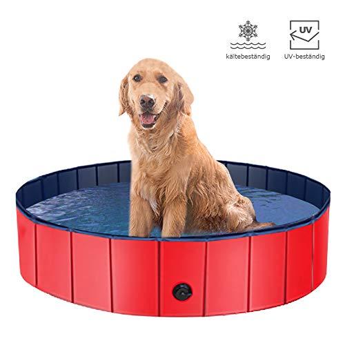 CHAIRLIN Hundepool Doggy Pool rutschfest, erschleißfest Swimming Pool Schwimmbecken Planschbecken Badewanne für Hunde Faltbarer Katzenpool aus Umweltfreundliche PVC mit Ablassventil (120CM)