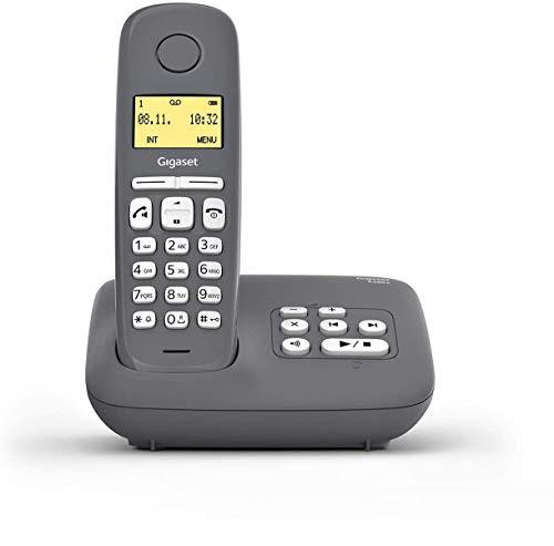 Gigaset A280A DECT-Schnurlostelefon mit Anrufbeantworter für beste Kommunikation mit großem Grafik-Display, perfekter Audioqualität und Freisprechfunktion - Made in Germany, Grey