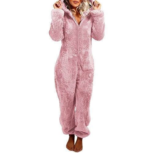Pijama Completa de Mujer Mono de Felpa Gruesa con Capucha y Cremallera Ropa de Dormir de Una Pieza Mameluco Cálido Pijama Entera para Adulto (Rosa, L)