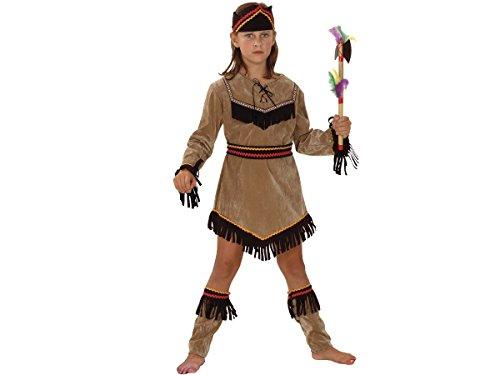 Déguisement ''Indienne'' Pour Fille - Déguisement ''Indienne'' pour fille comprenant une tunique en aspect suédine de couleur beige agrémentée de franges sur le bas de la robe ainsi que sur les manches, des sur-bottes, choisir:Costume 7-9 ans 82176