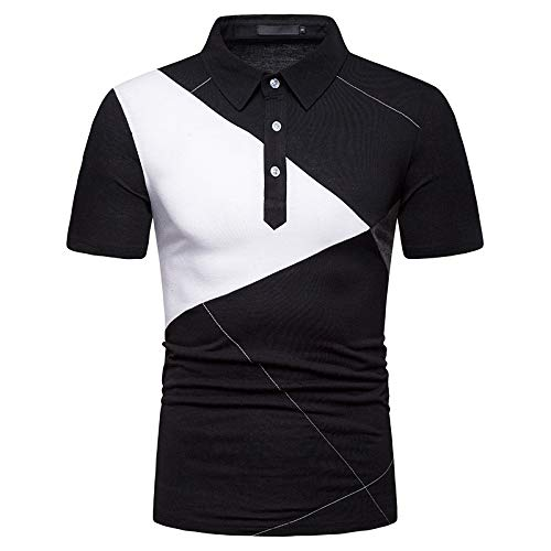 KXZD Men's Short Sleeve Polo Shirts Contrasting Colors Golf Tennis T-Shirt Casual Sleeve Polo Short T Shirts Tops Basic Slim Fit Summer Mixed Color Button Lapel Polo Shirt Sports Fashion Tops
