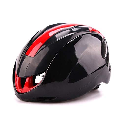 U/D Sistema de Control de la Bici del Camino de los Hombres Ultra Ligero y Mujeres de Montar Casco Delantero neumático Transpirable Casco de Seguridad (Color : Negro Rojo)