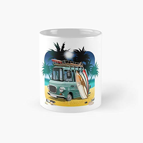 Cartoon Retro Camper Van Classic Mug - A Novelty Ceramic Cups Inspirational Holiday Gifts For Morther's Day, Men & Women, Him Or Her, Mom, Dad, Sister, Brother, Coworkers, Bestie.