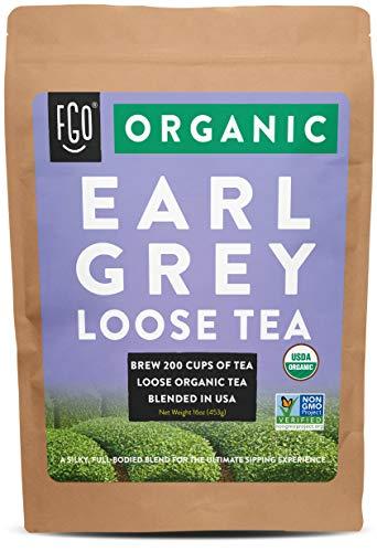 Organic Earl Grey Loose Leaf Tea | Brew 200 Cups | Blended in USA | 16oz/453g Resealable Kraft Bag | by FGO