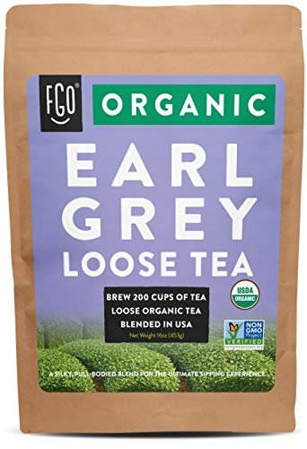 Organic Earl Grey Loose Leaf Tea | Brew 200 Cups | Blended in USA | 16oz/453g Resealable Kraft Bag | by FGO