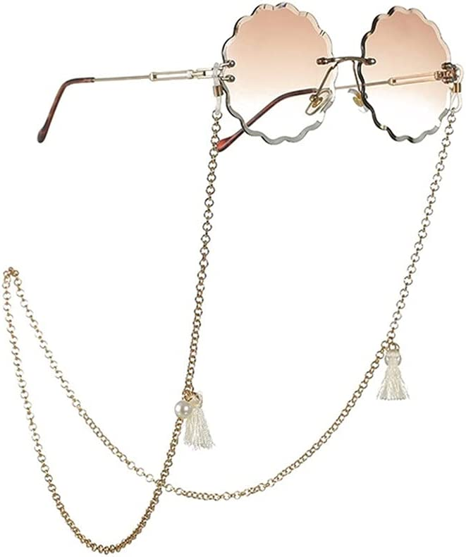 GYZX Glasses Chain for Women Tassel Pearl Lanyard Glasses Strap Sunglasses Cords Casual Glasses Accessories (Color : A, Size : Length-70CM)