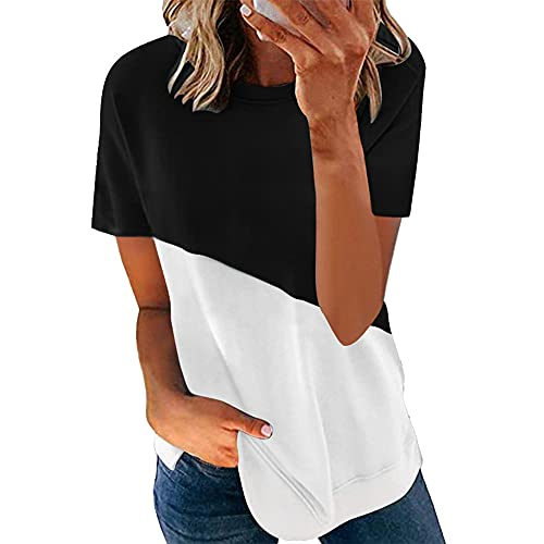Tops para Mujer Camisetas de Verano de Manga Corta para Mujer Camisetas holgadas Informales de Manga Corta Camiseta para Mujer Cuello Redondo Costuras en Contraste Manga Casual Moda Top