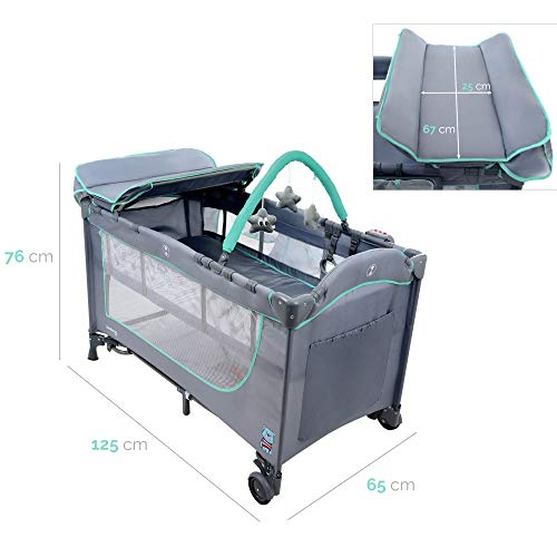 KINDEREO Comfort Plus Babybett Wickelauflage Laufstal Reisebett Kinderreisebett Kinderbett Klappbett für Kinder und Babys mit Zubehören (Grau-Minze) - 4