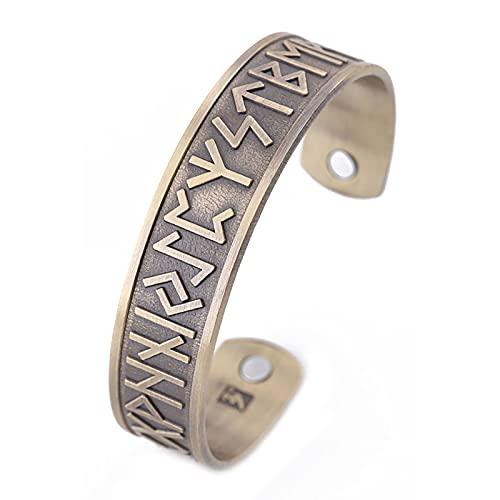 XIABME Nordic Slawische Runen Alphabet Symbol Stil Offenes Armband,Angelhaken Viking Vintage Versteckte Nachricht Mantra Manschettenarmband Edelstahl Freund Amulett Heidnischer Schmuck (Color : Gold)