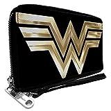 Wonder Woman 1984 - Cartera de piel sintética con cremallera y logo dorado