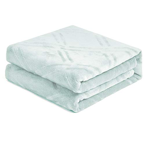 HT&PJ Super Soft Lightweight Flannel Fleece Throw Blanket Microfiber Velvet Cozy Warm Throw Blanket for Living Room (Coral Green,(Throw50 X 60'))