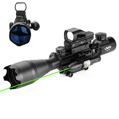 UUQ 4-16x50 Tactical Rifle Scope Red/Green Illuminated Range Finder Reticle W/Green Laser Sight and Holographic Reflex Dot Sight