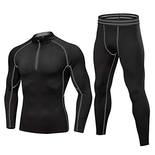 YAOTT Herren Kompressionsanzug Thermounterwäsche Funktionswäsche Set Ski Thermo Langarm Unterhemd + Thermo Lange Unterhose Grau XL