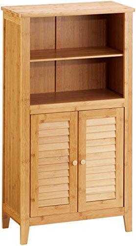 Relaxdays Lamell Armario de baño de bambú, 92x 50x 25cm, con 2Asas y Puertas, Armario de baño o Armario Auxiliar con estantes de Madera, Color Natural