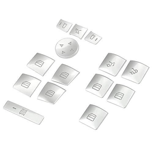Danghe Puerta Reproductor de la Ventana Interruptor de la Ventana Pegatina Pegatina Ajuste para Benz GLK ML GL A B C E G Class W204 W212 W246 W166 x166 (Color : Silver)