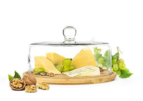 Sendez Glasglocke mit Schneidebrett 28cm Käseglocke Glashaube Kuchenglocke aus Holz und Glas