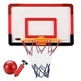 Canasta Baloncesto Aro y Pelota de Baloncesto para Niños, Tablero de Baloncesto Colgante Portátil con Bomba de Inflado, Aro de Baloncesto Montado en La Pared para Juguetes Deportivos de Interior Al Ai