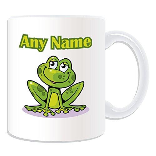 De regalo con mensaje personalizado - sello con forma de rana/sapo taza de desayuno (diseño de animales, blanco) - el nombre/mensaje en tu taza diseño de