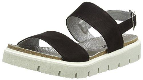 Shoot Shoot Shoes SH-164446DD Damen Sommer Leder Sandale Chunky, Damen Plateau Sandalen, Schwarz (Black), 39 EU
