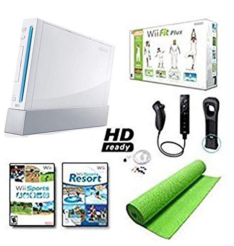 Nintendo Wii Black System HD Ready + Wii Fit Plus, Balance Board Mat Bundle