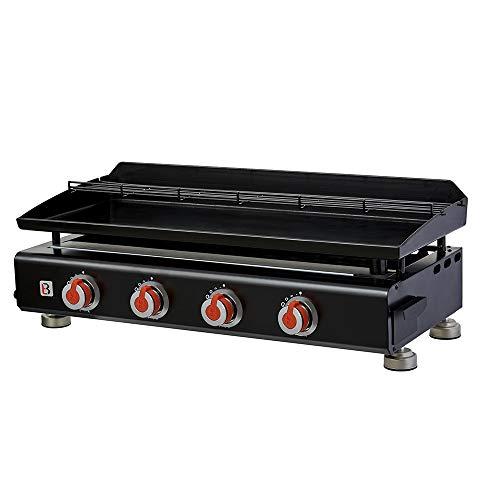 BRASERO - Plancha Silvia II G 4 Feux Surface Cuisson 84 x 34 cm - 4 brûleurs - Plaque Acier émaillée - Grille de réchauffement - Piezo intégré - Tiroir Graisse - Jusqu'à 12 convives - 10 KW