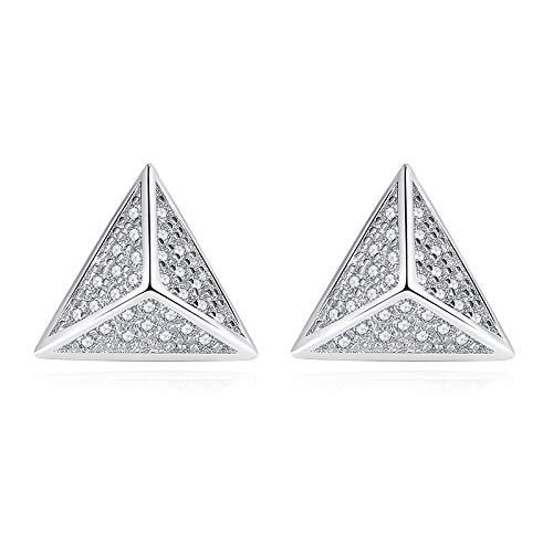 SUNHAO Pendientes de botón S925 Joyas de Plata esterlina Pendientes de pirámide Pendientes de triángulo estéreo Regalo