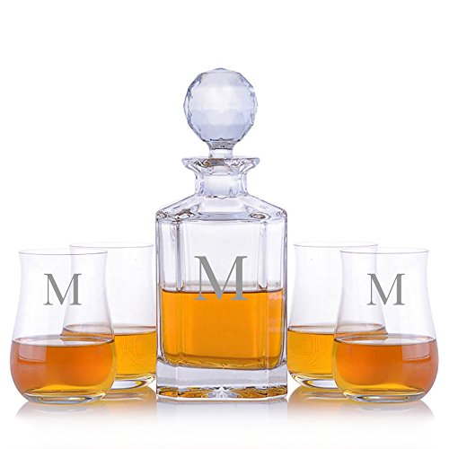Personalized Crystal Whiskey Liquor Decanter & 4 Ravenscroft Crystal Single Malt Scotch Whisky Glasses Engraved & Monogrammed - Perfect for Christmas and the Holidays