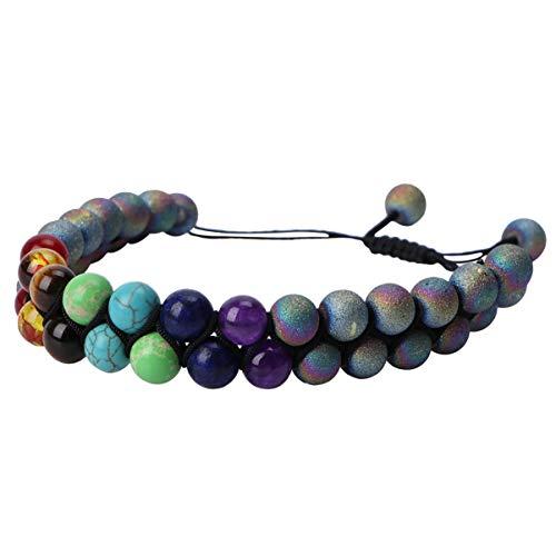 Happyyami Bracelet Chakra Perle Bracelet de Yoga Coloré Bracelet en Pierre Volcanique Naturelle à Double Couche pour Faire Du Shopping à La Maison en