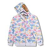 BAPE Hoodie A Bathing APE Shark Camo Head Bape Hoodies Full Zip Jacket Hip Hop Tops Coat Hipster for Men Women Kids (White Camo Shark,XX-Large,XX-Large)