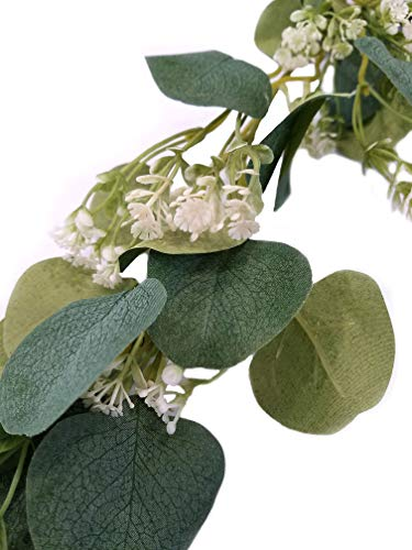 Artificial Eucalyptus Leaf Garland with Baby Breath Vine Faux Silk Greenery Backdrop Floral Wedding Decor for Indoor and Outdoor