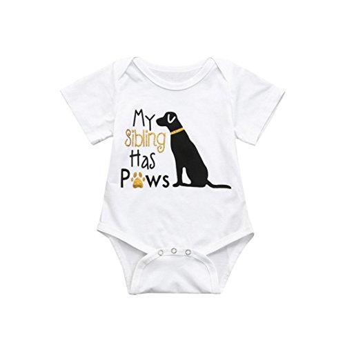QinMM Baumwolle Kleinkind Infant Baby Jungen Mädchen Brief Hund Strampler Overall Kleidung Outfits (6M, Weiß)