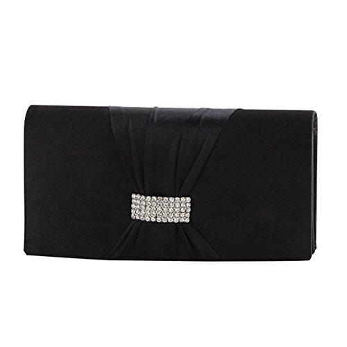 Joyfeel Buy Bolso de mano de satén para mujer, con diseño frontal de lazo de cristal, color negro