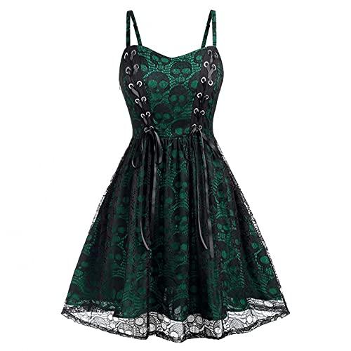 Julhold Vestido temático de Halloween para mujer, estilo gótico, vintage, cintura alta, con cordones, vestido de fiesta, vestido de túnica (verde, XL)
