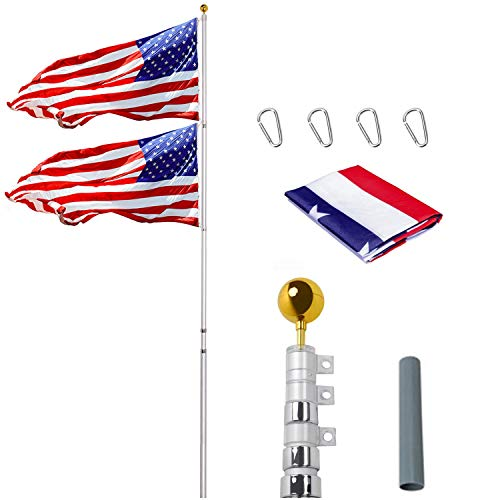 Supole 30FT Telescoping Flag Poles kit Fly 2 Flags, Heavy Duty Extra Thick Aluminum Flagpole with Metal Pole, 3'x5' American US Flag & Golden Ball for Outdoor Commercial or Residential, Silver