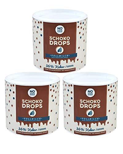 NO SUGAR SUGAR Schokodrops Vollmilch Schokolade mit 36% Kakao Anteil (3x250g) Hergestellt in Belgien ohne Zuckerzusatz, gesüßt mit Erythrit und Stevia nach Fairtrade-Standards gehandelt