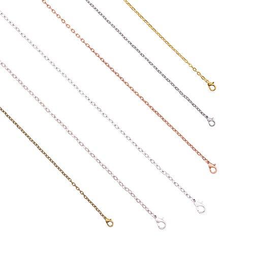 PandaHall 48 cadenas de collar, 6 eslabones redondos de