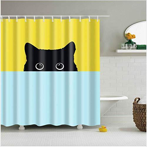 FREEWYJD Cartoon Katze Druck Polyester Duschvorhang Für Bad Nordic Wasserdicht Bad Bildschirm Vorhänge Polyester Stoff Dekoration 180 * 200 cm