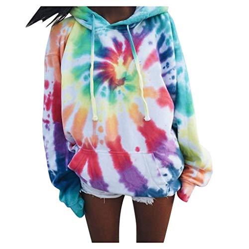 Batik-Shirt Damen Regenbogen Tie-Dye Pullover Patchwork Oberteile Farbverlauf Bauchfrei Kapuzenpullover Sweatshirt Patchwork Langarmshirt Damen