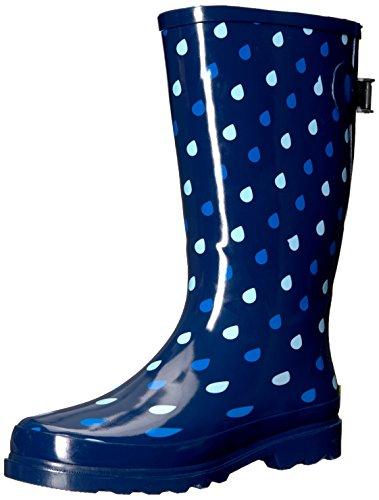 Western Chief Waterproof Printed Wide Calf Rain Boot Raindrop Dot 8 M