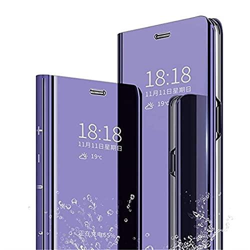 Jacyren Funda para Samsung Galaxy A02s, funda de piel A02s, funda de espejo plegable, funda protectora para teléfono móvil con función de soporte, compatible con Samsung Galaxy A02s, color morado