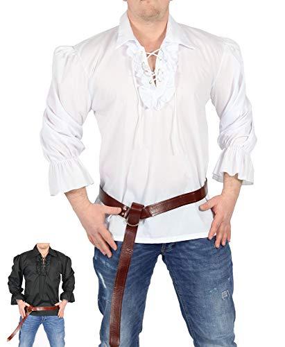 FOXXEO Chemise Pirate Homme Chemise à Volant Blanc Chemise médiévale Carnaval Carnaval, Taille : L