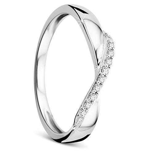 Orovi Damen-Ring Memoire HochzeitsringWeißgold 9 Karat (375) Brillianten 0.08 carat Verlobungsring Diamantring