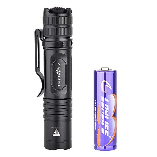 TrustFire L2 AA Mini Linterna de bolsillo 1000 lúmenes con LED CREE XP-L HD y batería táctica para EDC, camping, senderismo, paseos de perro y en la naturaleza