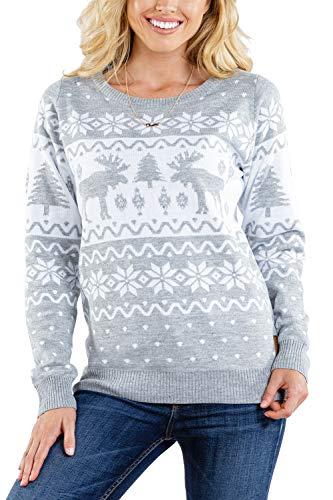 Tipsy Elves Women's Merry Moose Sweater - Cute Moose Christmas Sweater: M Grey