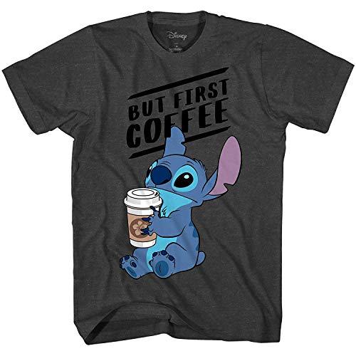 Disney Lilo and Stitch Coffee First Adult T-Shirt (Heather Charcoal, XXL)