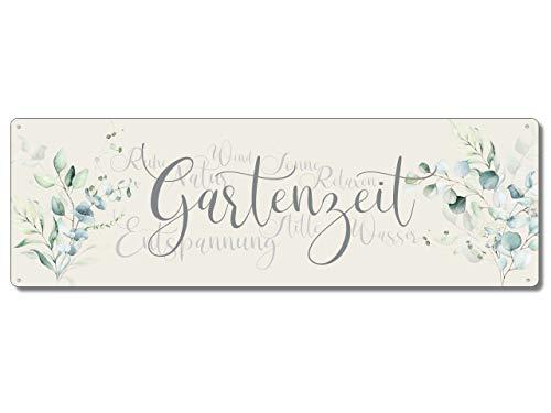 Interluxe Metallschild - Gartenzeit - wetterfestes Schild im Shabby Cottage Stil für den Lieblingsplatz im Garten