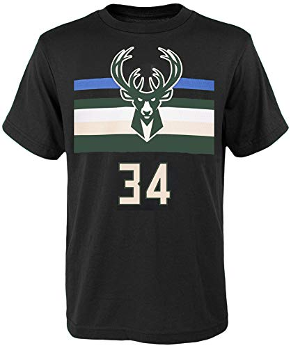 NBA Kids Youth Team Color Alternate Game Time Name and Number Player T-Shirt (8, Giannis Antetokounmpo Milwaukee Bucks Black)