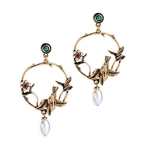 JIFNCR Pendientes retro con colgante de pájaro circular para mujer, diseño clásico, para decoración de fiestas