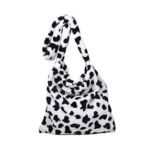 Damen-Handtasche mit Leopardenmuster, flauschiger Plüsch, Clutch, Kunstfell, Handtasche